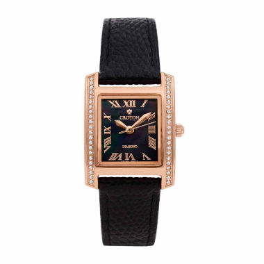 jcpenney.com | Croton Womens Black Strap Watch-Cn207057rgbk