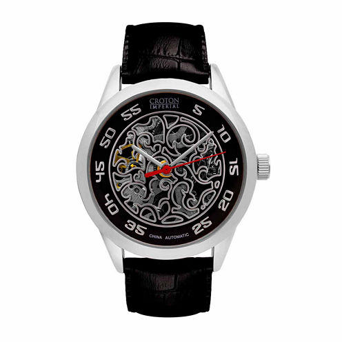 Croton Imperial Mens Black Strap Watch-Ci331095ssbk