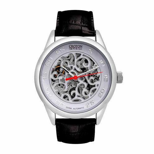 Croton Imperial Mens Black Strap Watch-Ci331095ssdw