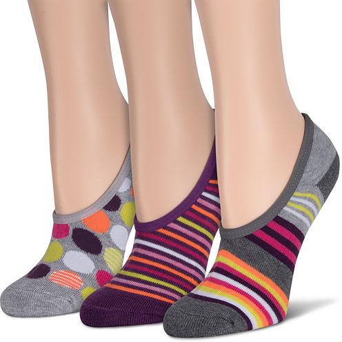 3Pk Gray Stripe Half Cush Liner Socks