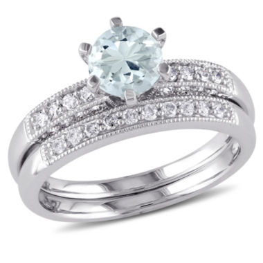jcpenney.com | 1/3 CT. T.W. Blue Aquamarine 10K Gold Bridal Set