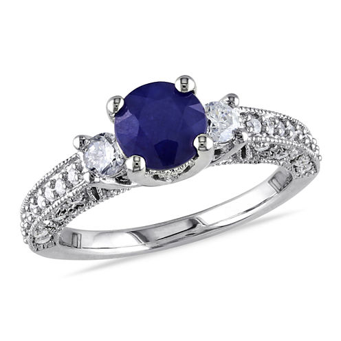 1/2 CT. T.W. Blue Sapphire 14K Gold Engagement Ring