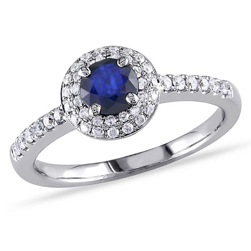 1/4 CT. T.W. Blue Sapphire 14K Gold Engagement Ring