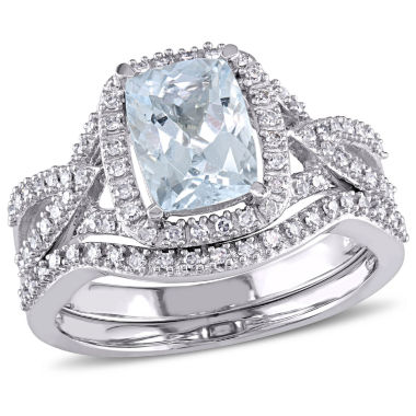 jcpenney.com | 1/4 CT. T.W. Blue Aquamarine 10K Gold Bridal Set