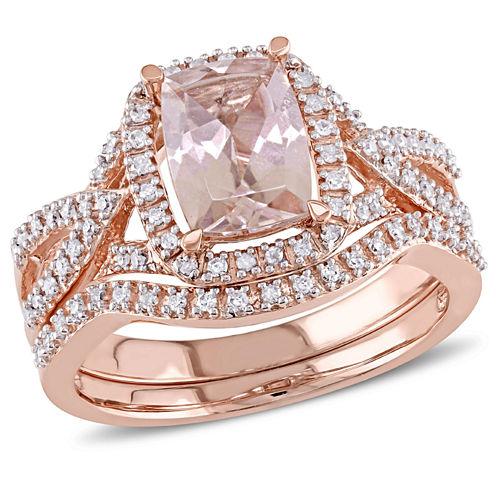 1/4 CT. T.W. Pink Morganite 10K Gold Bridal Set