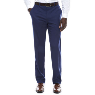 Men's JF Stretch Blue Micro Check Flat-Front Straight-Leg Slim-Fit Pant