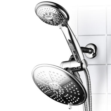 jcpenney.com | DreamSpa® Ultra-Luxury 38-setting 3-way RainfallShower Combo with Patented ON/OFF Pause Switch and5-ft. to7-ft. Stretchable Stainless Steel Hose /Premium Chrome