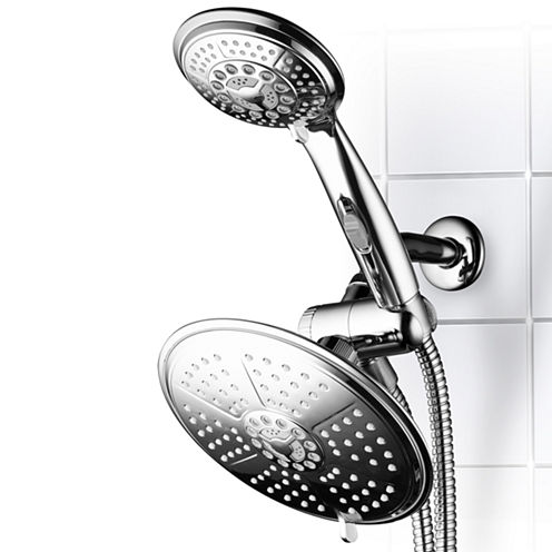 DreamSpa® Ultra-Luxury 38-setting 3-way RainfallShower Combo with Patented ON/OFF Pause Switch and5-ft. to7-ft. Stretchable Stainless Steel Hose /Premium Chrome