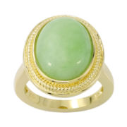 Genuine Green Jade Oval Rope Trim Ring