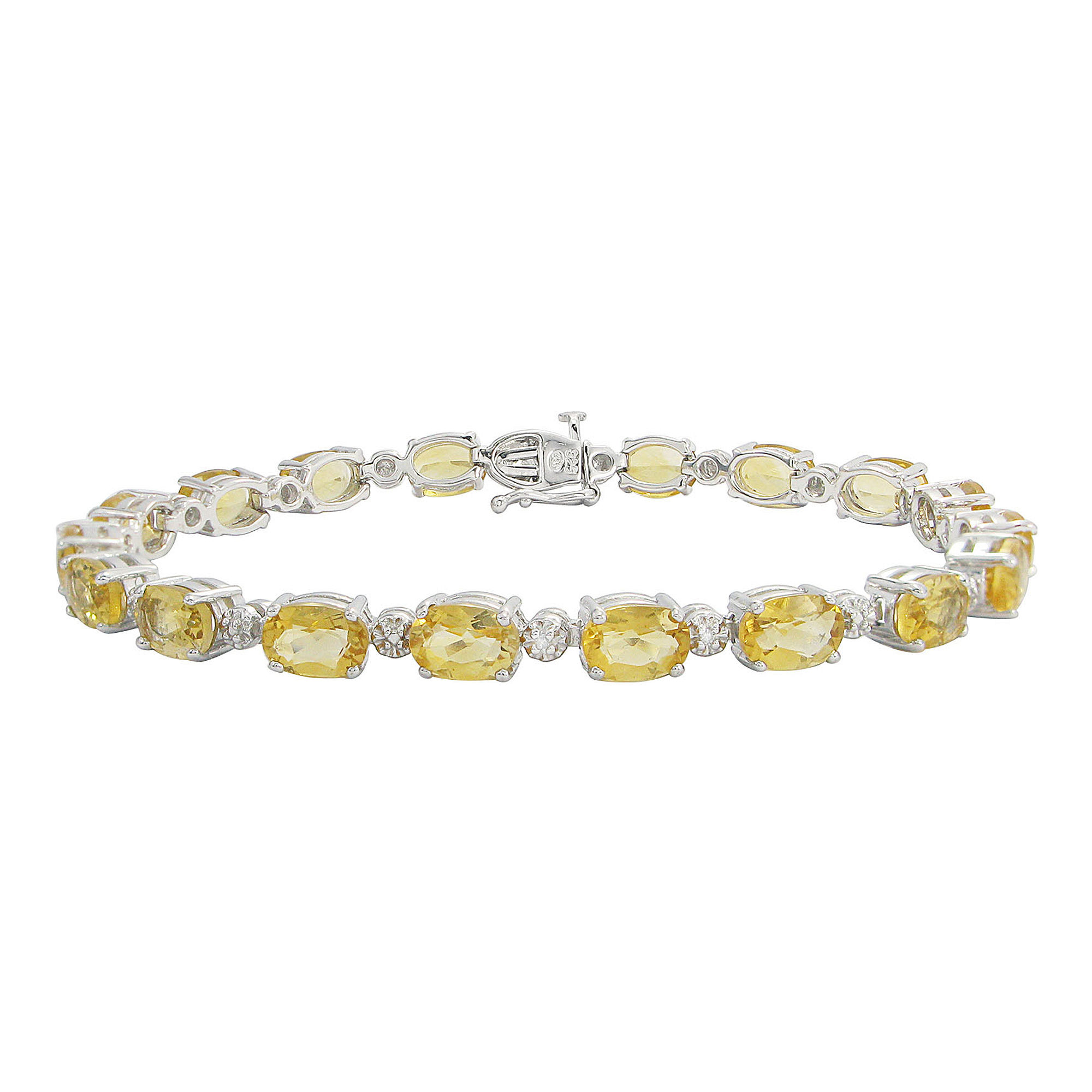 Genuine Citrine & Diamond Accent Tennis Bracelet