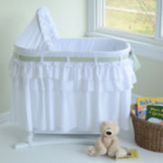 Lamont Home Good Night Baby Bassinet - White Full Skirt w/ 3 Interchangeable Bow