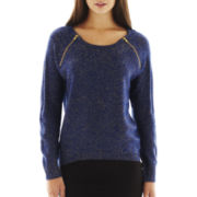 Bisou Bisou® High-Low Metallic Raglan-Sleeve Sweater