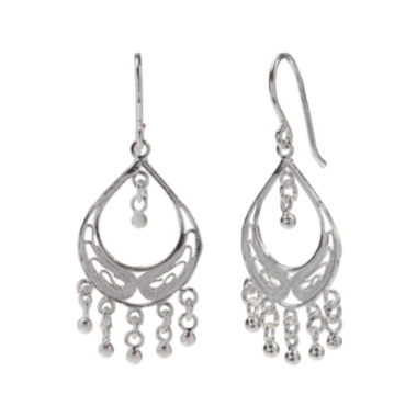 jcpenney.com | Sterling Silver Filigree Fringed Teardrop Chandelier Earrings