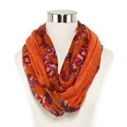 Floral Knit-Lining Loop Scarf