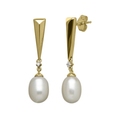 jcpenney.com | Certified Sofia™ Cultured Freshwater Pearl & 1/10 CT. T.W. Diamond Earrings