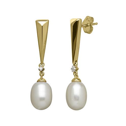 Certified Sofia™ Cultured Freshwater Pearl & 1/10 CT. T.W. Diamond Earrings