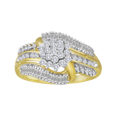 jcpenney.com | 2/3 CT. T.W. Diamond 10K Yellow Gold Cluster Ring