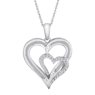 jcpenney.com | 1/4 CT. T.W. Diamond 10K White Gold Double Heart Pendant Necklace