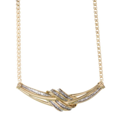 jcpenney.com | 1/2 CT. T.W. Diamond Swirl Baguette 10K Yellow Gold Necklace