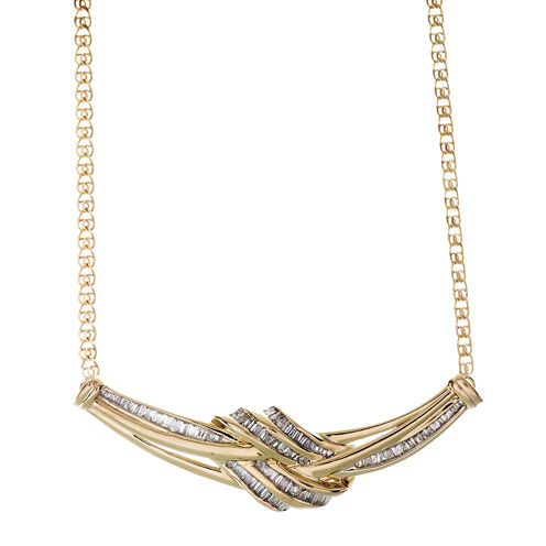 1/2 CT. T.W. Diamond Swirl Baguette 10K Yellow Gold Necklace