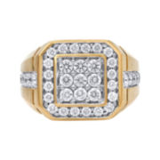 2 CT. T.W. Diamond 10K Yellow Gold Mens SquareRing