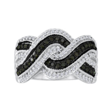 jcpenney.com | 1/2 CT. T.W. White & Color-Enhanced Black Diamond Sterling Silver Crossover Ring