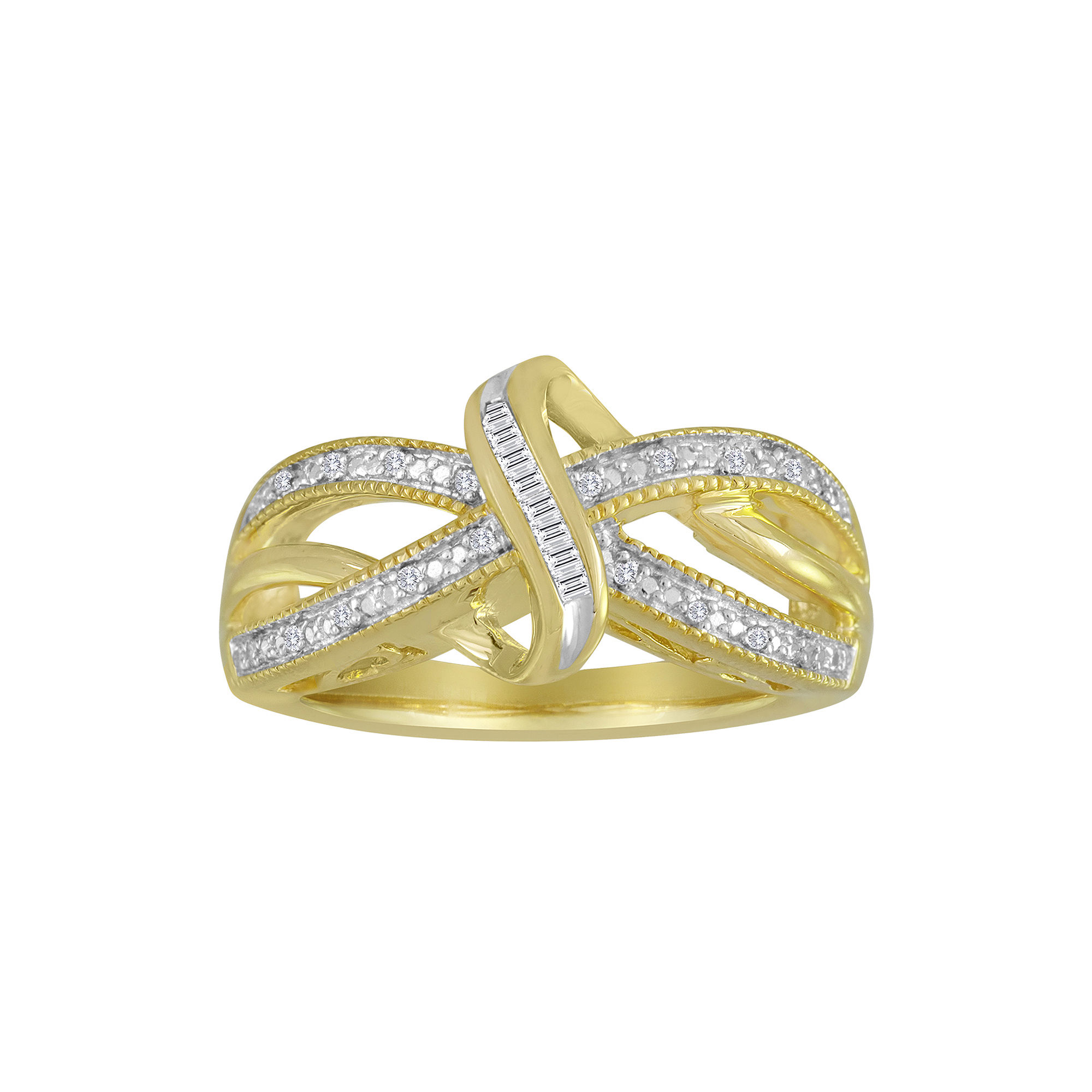1/10 CT. T.W. Diamond 14K Yellow Gold Over Sterling Silver Vintage Twist Ring