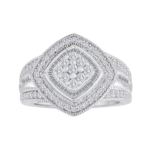 3/4 CT. T.W. Diamond Sterling Silver Frame Ring
