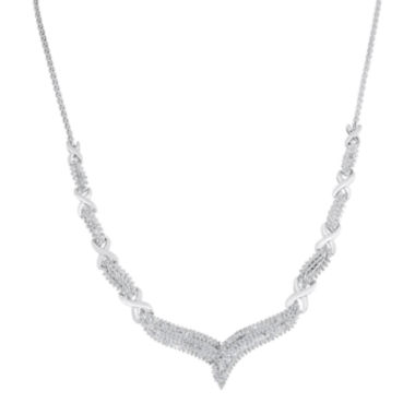 "jcpenney.com | 1/2 CT. T.W. Diamond Sterling Silver ""X"" Necklace"