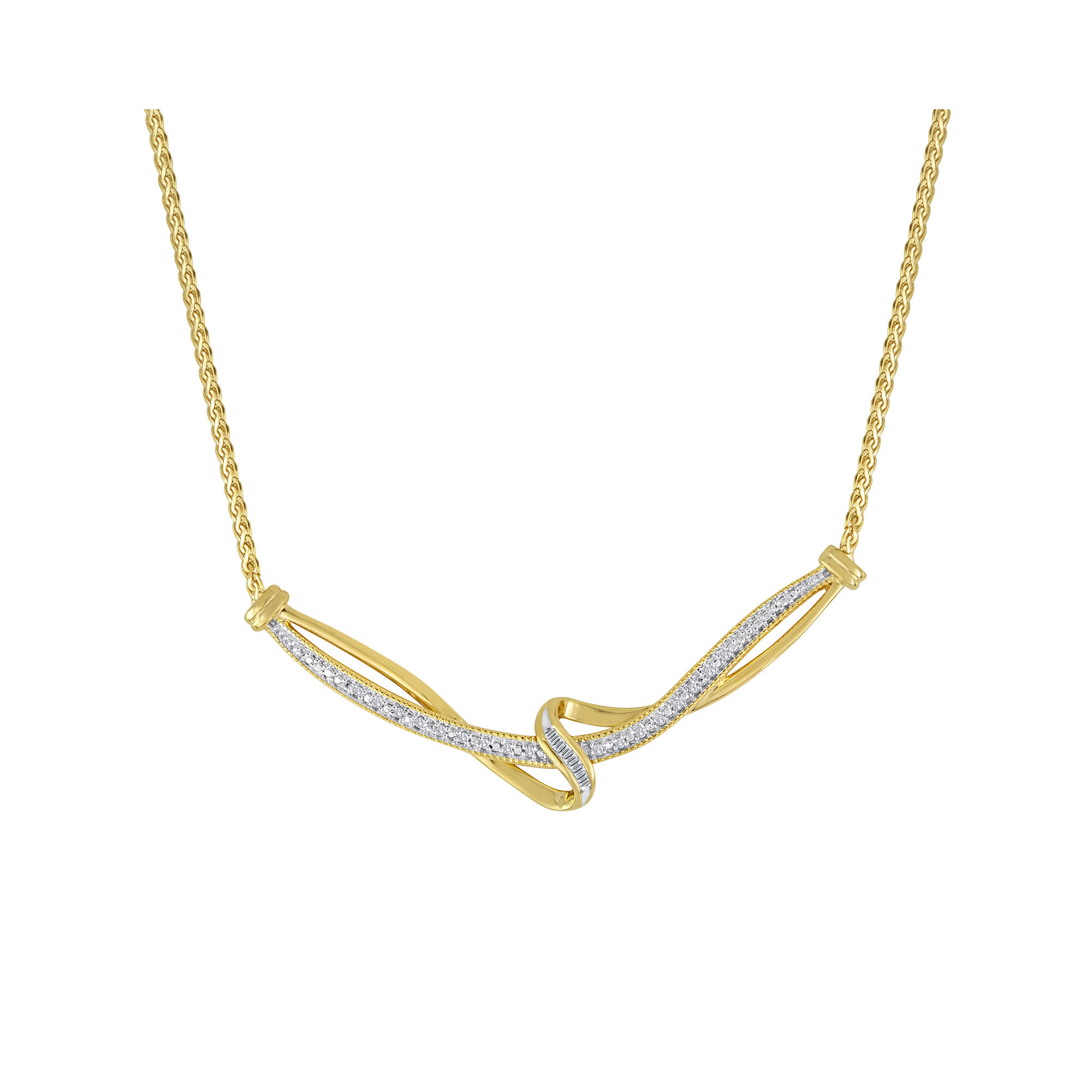 1/10 CT. T.W. Diamond 14K Yellow Gold Over Sterling Vintage Twist Necklace