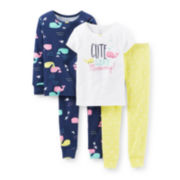 Carter's® 4-pc. Whale Pajama Set - Girls 2t-5t