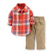 Carter's® 2-pc. Plaid Shirt and Canvas Pants Set – Boys newborn-24m