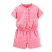 Carter's® Short Roll-Tab Sleeve Poplin Romper - Girls newborn-24m