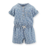 Carter's® Short Roll-Tab Sleeve Chambray Romper - Girls newborn-24m