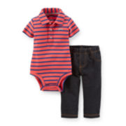 Carter's® Short-Sleeve Polo Bodysuit & French Terry Pants Set - Boys newborn-24m