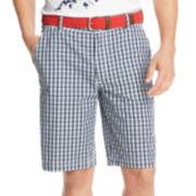 IZOD® Belted Mini-Plaid Shorts