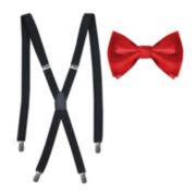 Solid Bow Tie & Suspenders Set