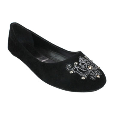 jcpenney.com | Embroidered Metallic Round-Toe Ballet Flats