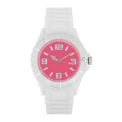 Womens Accutime White/Pink Strap Watch
