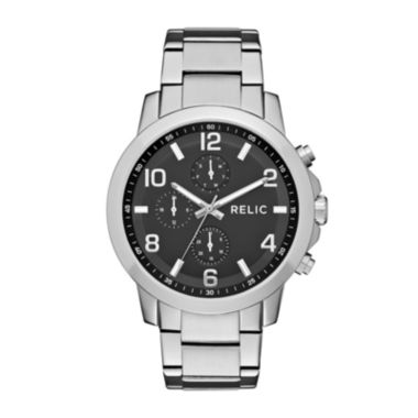 jcpenney.com | Relic® Womens Silver Black Zr15819 Bracelet Watch