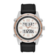 Relic® Mens Black Strap Rose Gold-Tone Watch ZR12186