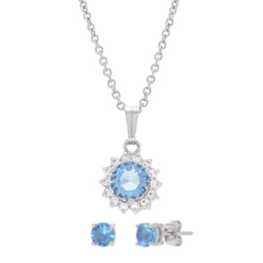 jcpenney.com | Sparkle Allure™ Blue Cubic Zirconia Earring and Pendant Necklace Set