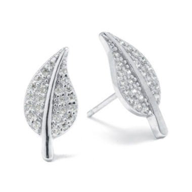 jcpenney.com | Sterling Silver Pavé Cubic Zirconia Leaf Stud Earrings
