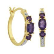 Classic Treasures™ Genuine Amethyst & Diamond-Accent Hoop Earrings