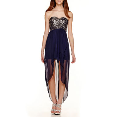 jcpenney.com | My Michelle® Strapless Sequin-Bodice High-Low Dress