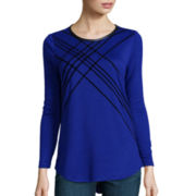 Worthington® Long-Sleeve Flocked T-Shirt - Tall