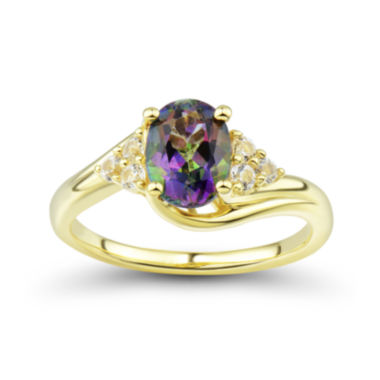 jcpenney.com | Genuine Mystic Topaz and Lab-Created White Sapphire 14K Gold over Silver Ring