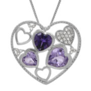 Genuine Amethyst Sterling Silver Floating Heart Pendant Necklace