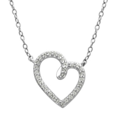 jcpenney.com | Genuine White Topaz Sterling Silver Heart Pendant Necklace