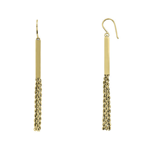 14K Yellow Gold Tube Rope Drop Earrings